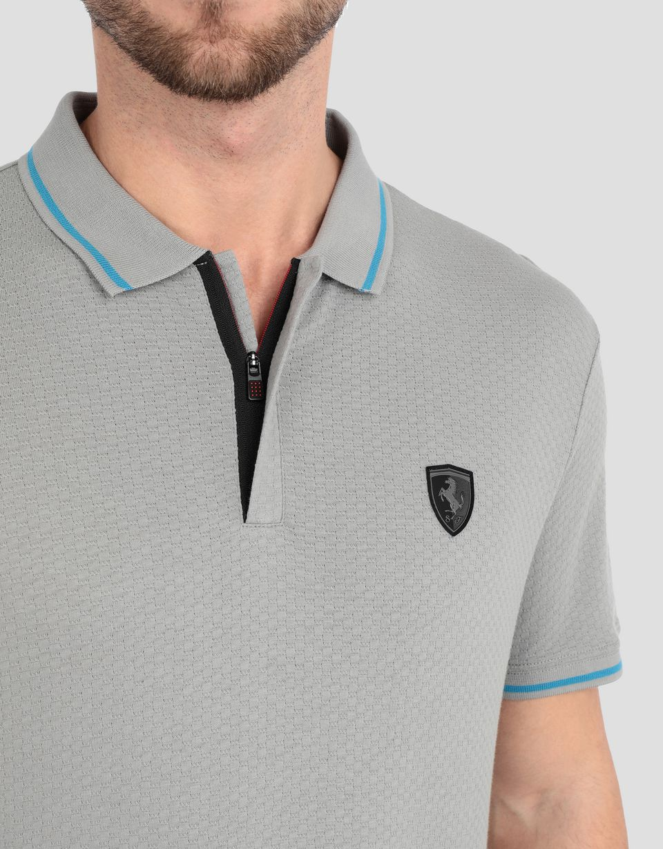 Scuderia Ferrari Online Store - Men's jacquard jersey polo shirt with zip -
