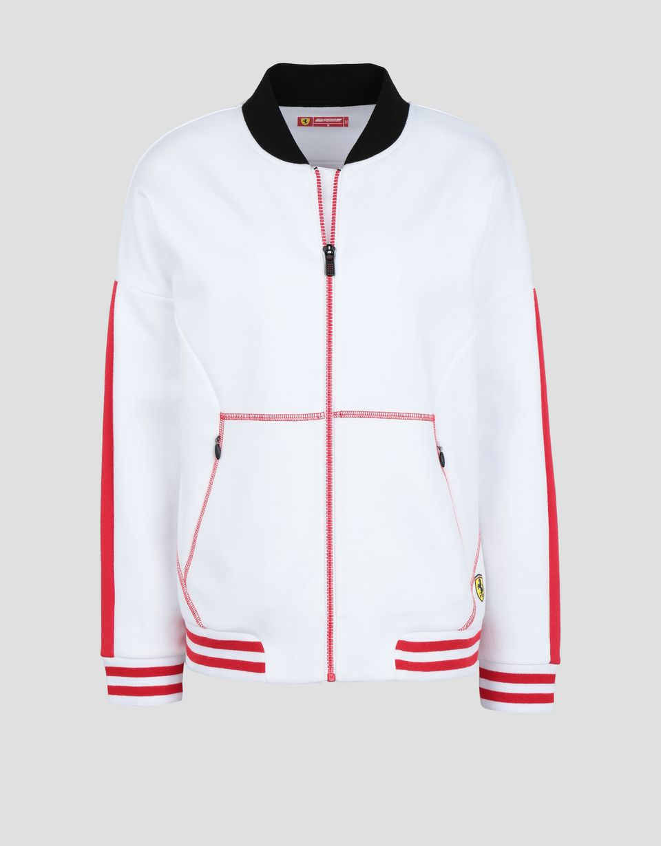 Scuderia Ferrari Online Store - Women's full zipper sweatshirt with RED TEAM print - Zip Sweaters