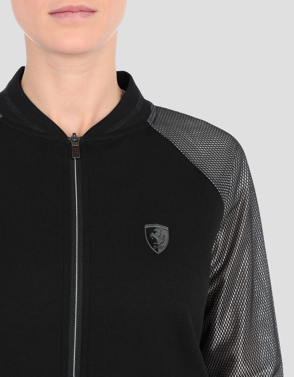 Scuderia Ferrari Online Store - Women's double knit sweater with silver sleeves - Zip Sweaters