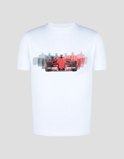 Scuderia Ferrari Online Store - Men's stretch jersey T-shirt with racing car print - Short Sleeve T-Shirts