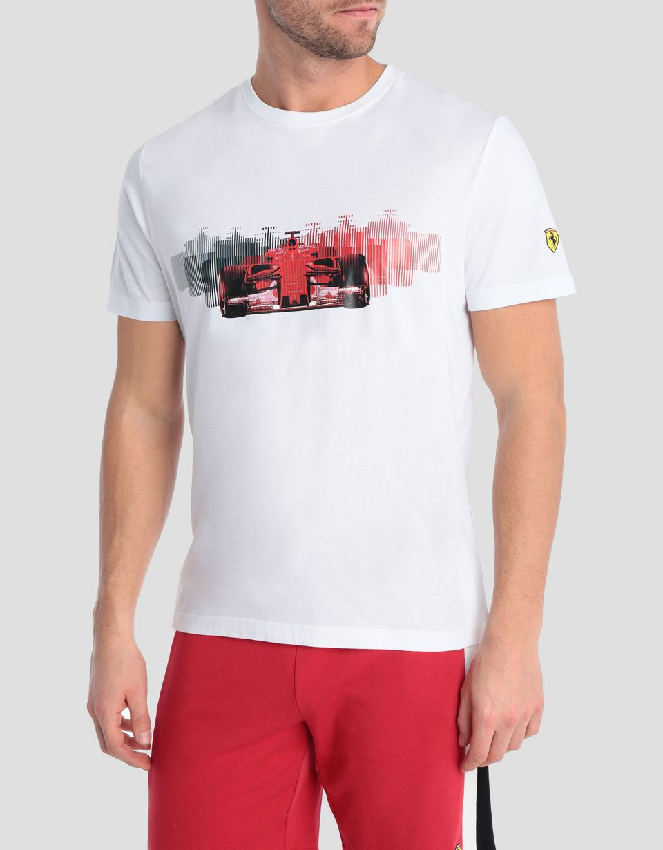 Scuderia Ferrari Online Store - Men's stretch jersey T-shirt with car print - Short Sleeve T-Shirts