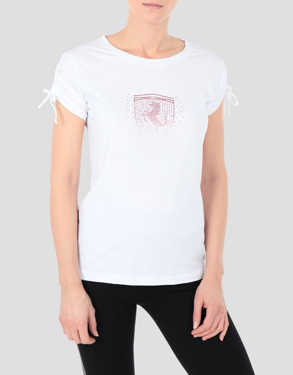 Scuderia Ferrari Online Store - Women's jersey T-shirt with Ferrari Shield in rhinestone - Short Sleeve T-Shirts