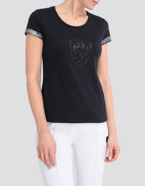 Women's T-shirt in viscose with laminated details