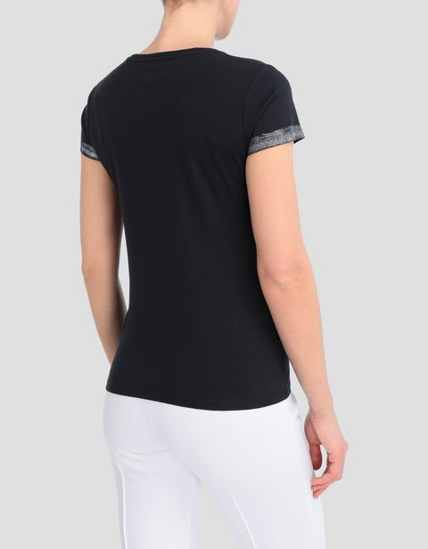 Women's viscose T-shirt with laminated details