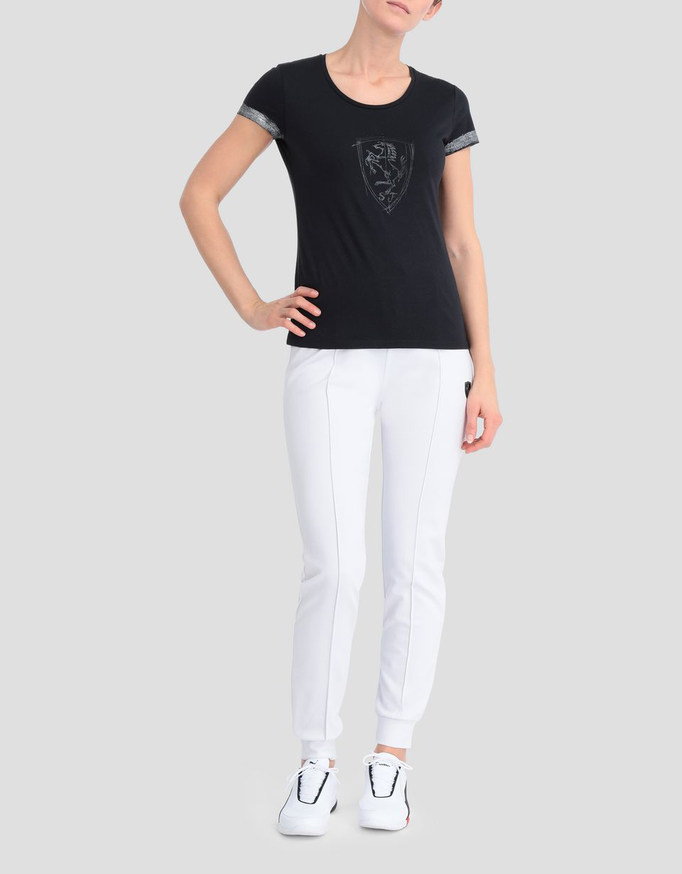 Scuderia Ferrari Online Store - Women's viscose T-shirt with laminated details - Short Sleeve T-Shirts