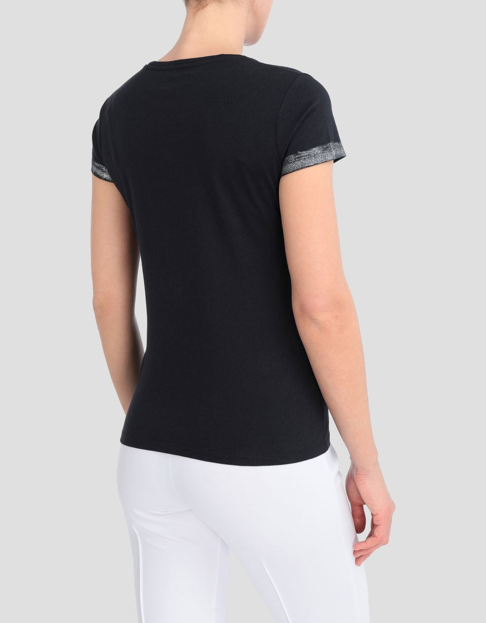 Scuderia Ferrari Online Store - Women's T-shirt in viscose with laminated details - Short Sleeve T-Shirts