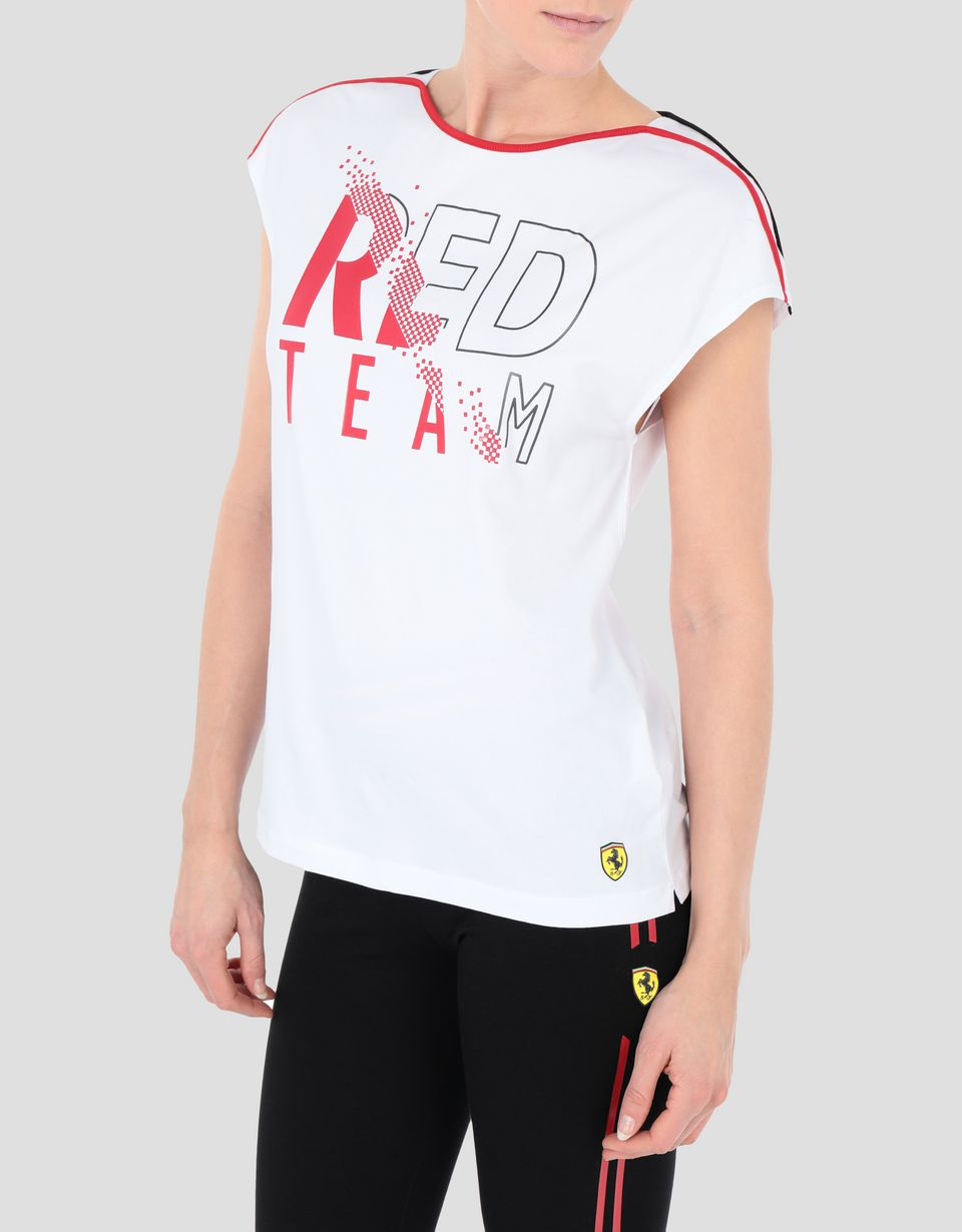 Scuderia Ferrari Online Store - Women's RED TEAM T-shirt in cotton jersey -