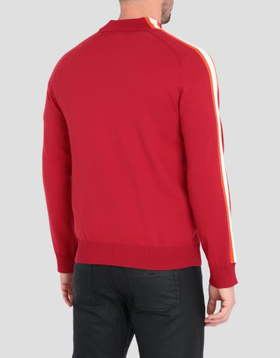Men's sweater with zipper and contrasting stripes