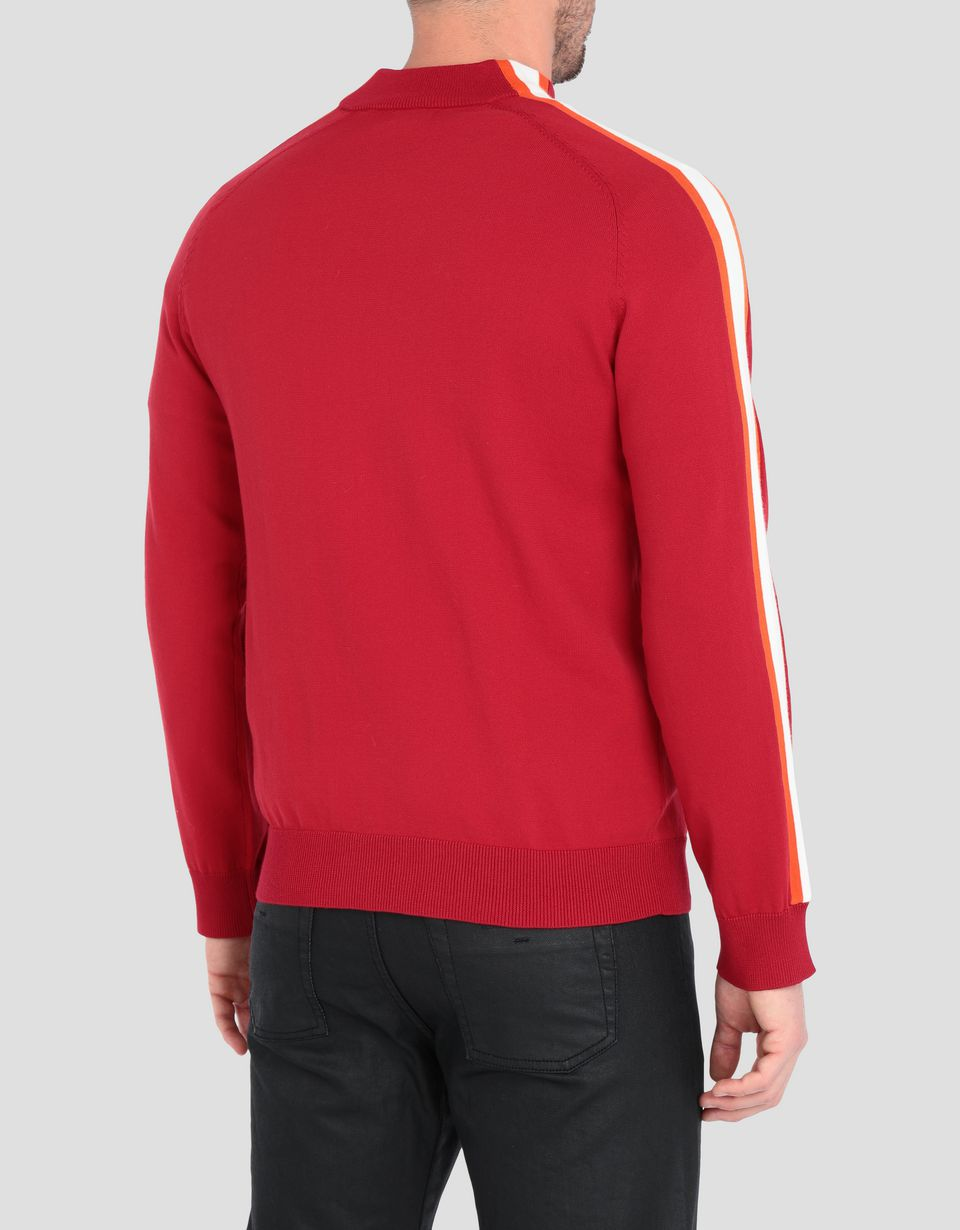 Scuderia Ferrari Online Store - Men's sweater with zipper and contrasting stripes - Zip Sweaters
