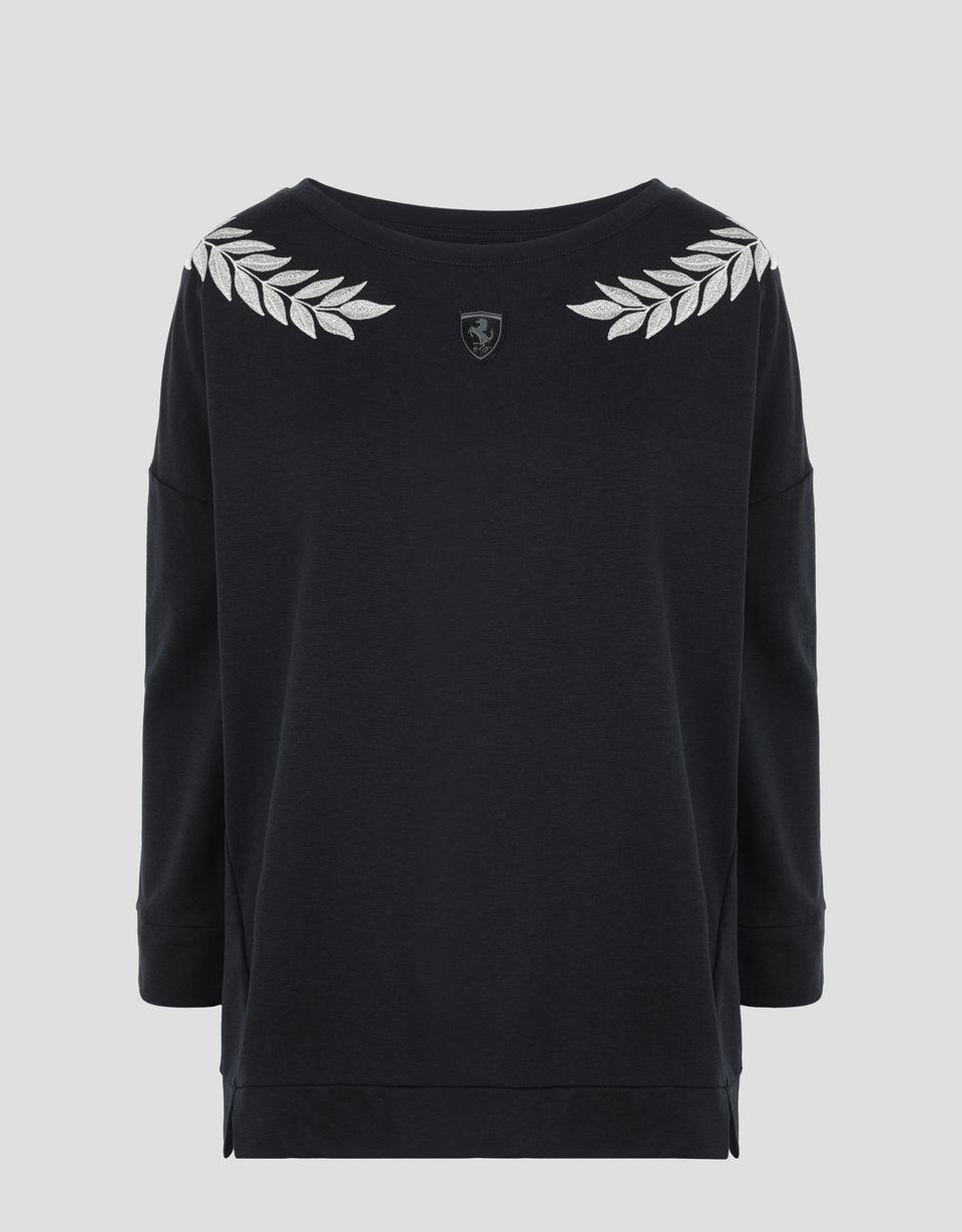 Scuderia Ferrari Online Store - Damenshirt aus Jersey mit Lorbeer-Stickerei - Rundhalspullover