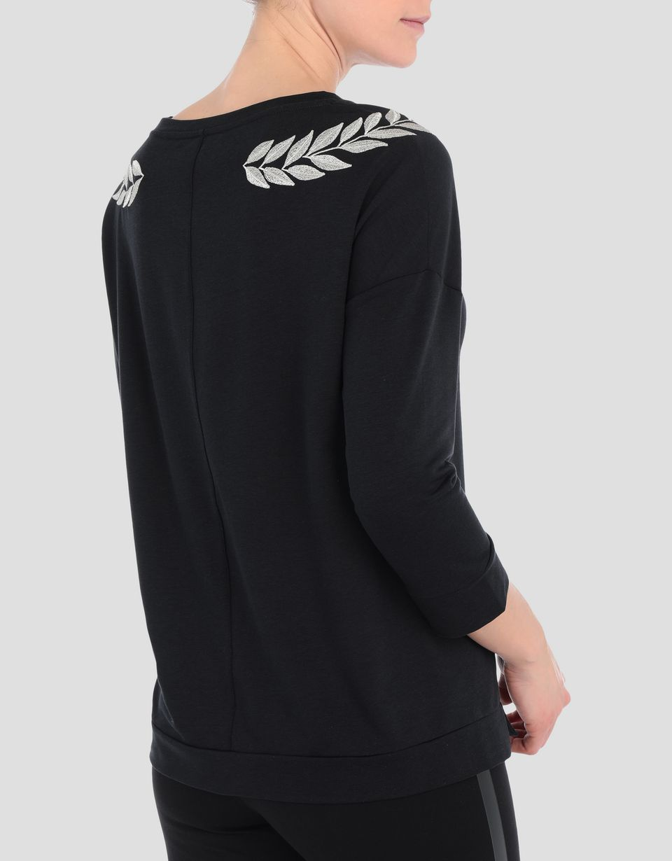 Scuderia Ferrari Online Store - Women's jersey sweater with laurel embroidery - Crew Neck Sweaters