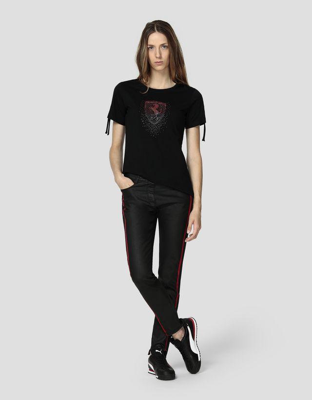 Scuderia Ferrari Online Store - Women's jersey T-shirt with rhinestone Ferrari Shield - Short Sleeve T-Shirts