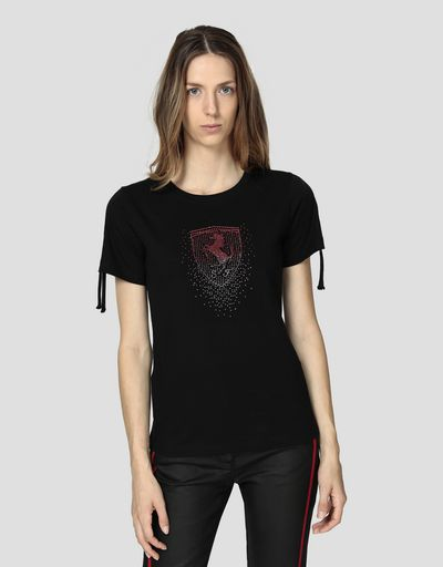 Women's jersey T-shirt with Ferrari Shield in rhinestone