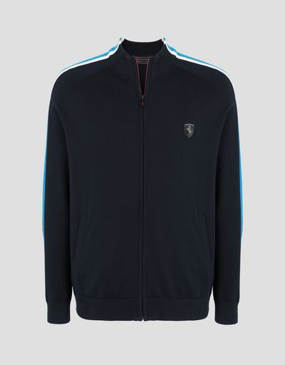 Scuderia Ferrari Online Store - Men's zipped jumper with contrasting stripes - Zip Jumpers