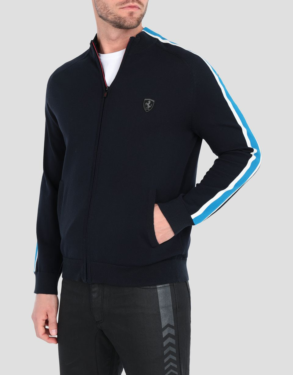 Scuderia Ferrari Online Store - Men's sweater with zipper and contrasting stripes -