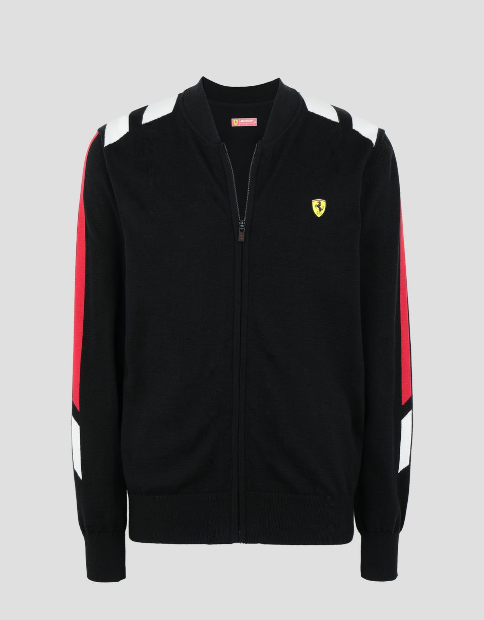 Scuderia Ferrari Online Store - Men's tricot knit sweater with full zip - Zip Jumpers