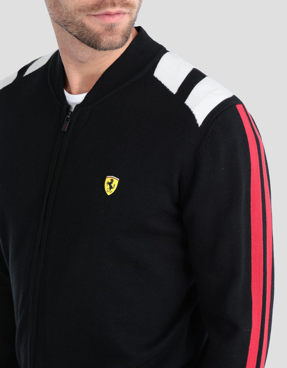 Scuderia Ferrari Online Store - Men' tricot sweater with full zipper - Zip Sweaters