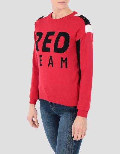 Women's cotton tricot RED TEAM sweater