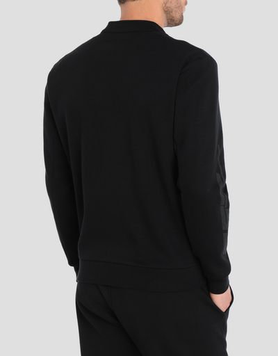 Men's sweater in double knit with zip