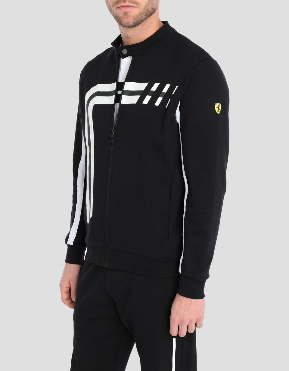 Scuderia Ferrari Online Store - Men's sweater in double knit with zip - Zip Jumpers