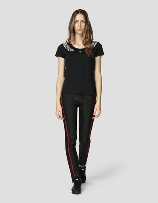 Scuderia Ferrari Online Store - Women's cotton jersey T-shirt with laurel print - Short Sleeve T-Shirts