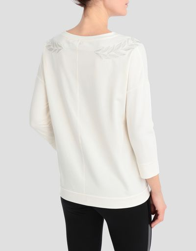 Women's jersey sweater with laurel embroidery