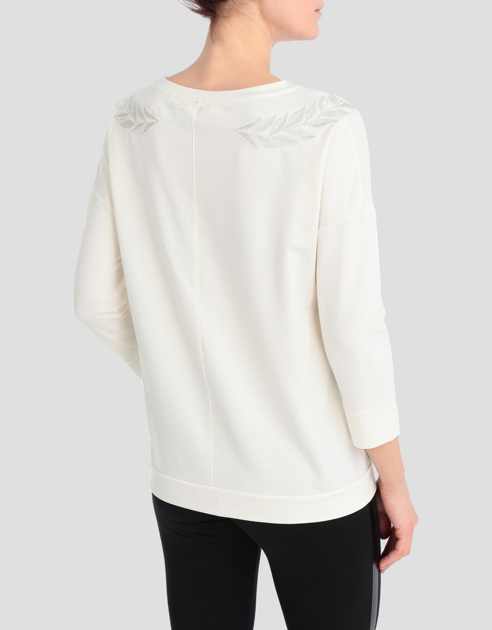Scuderia Ferrari Online Store - Women's cotton jersey top with laurel embroidery - Crew Neck Jumpers