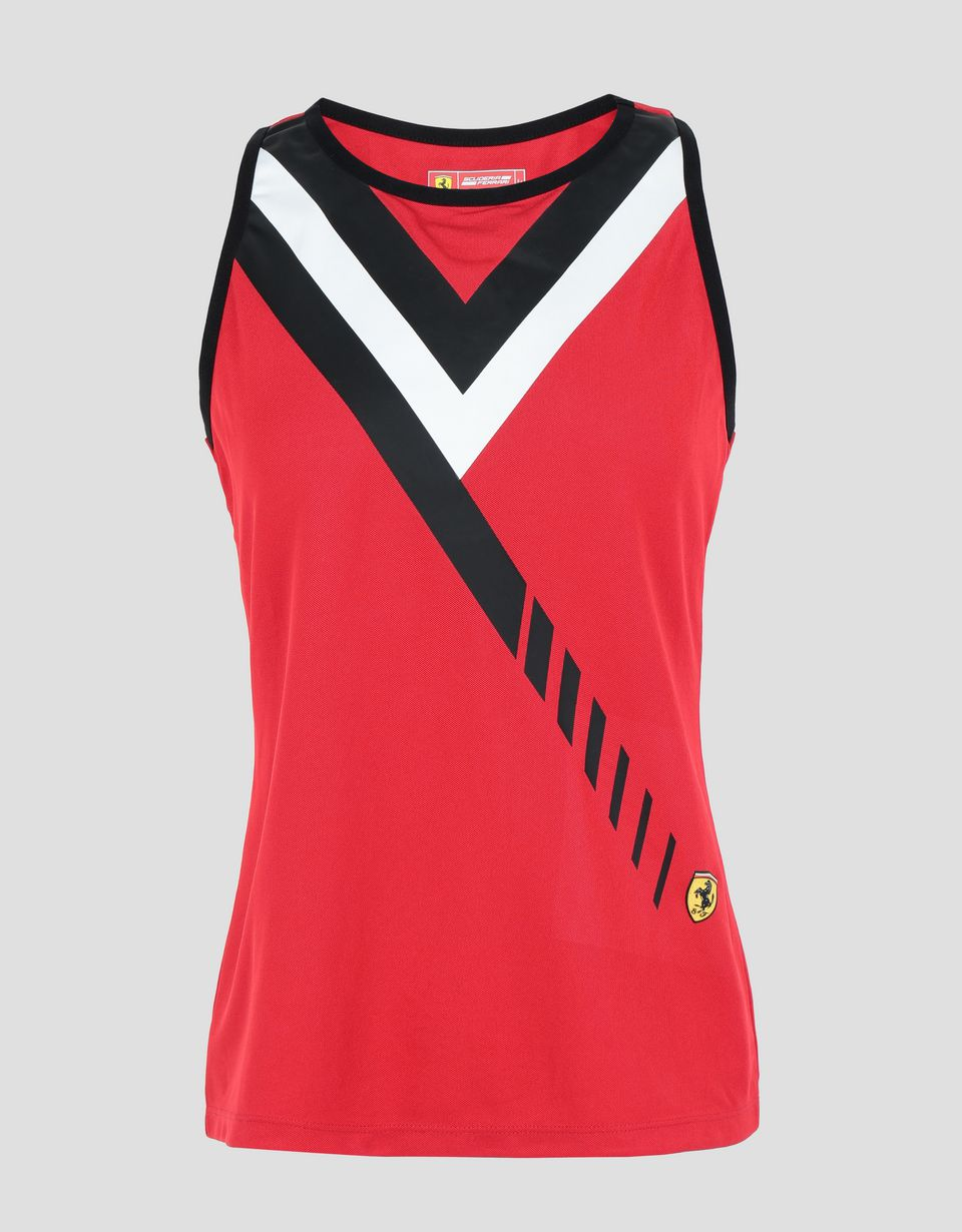 Scuderia Ferrari Online Store - Women's vest in technical piqué, with print - Tank Tops