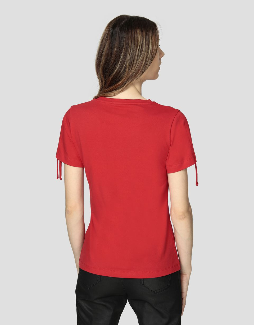 Scuderia Ferrari Online Store - Women's jersey T-shirt with Ferrari Shield in rhinestone -
