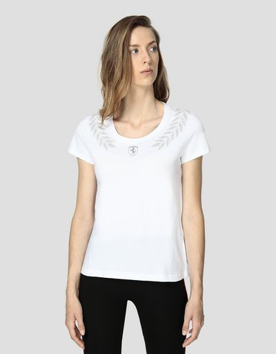 Women's cotton jersey T-shirt with laurel print