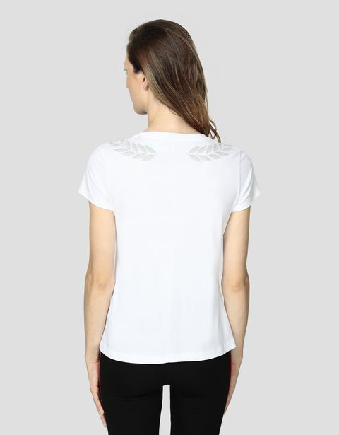 Women's cotton jersey T-shirt with laurel stamp