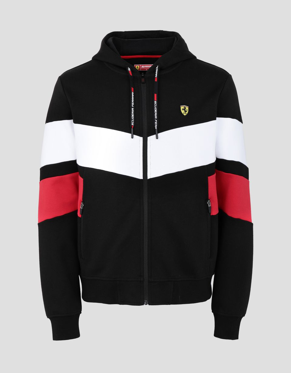 Scuderia Ferrari Online Store - Men's double knit sweater with hood - Zip Hood Sweaters