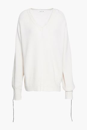 HELMUT LANG Cutout distressed cotton, wool and cashmere-blend sweater