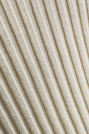 HELMUT LANG Off-the-shoulder ribbed stretch-silk top