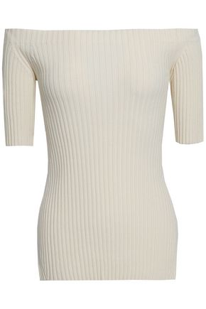 HELMUT LANG Off-the-shoulder ribbed stretch-silk top