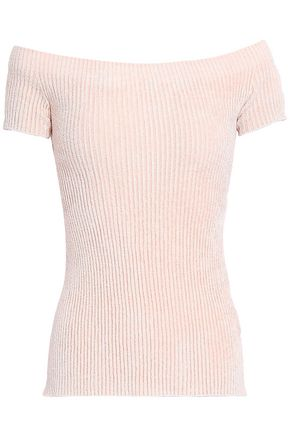 HELMUT LANG Off-the-shoulder ribbed chenille top