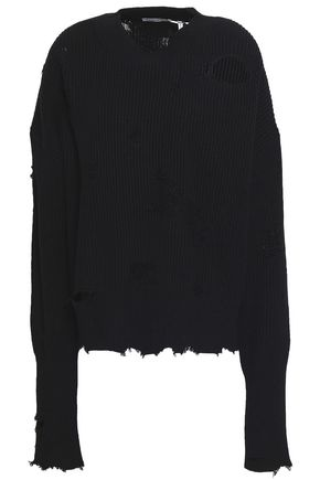 HELMUT LANG Distressed cotton and wool-blend sweater