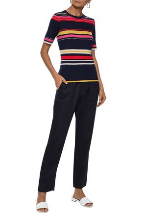 IRIS & INK Bella striped ribbed wool-blend top