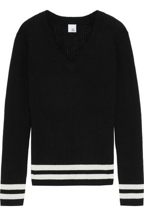 IRIS & INK Jemima striped ribbed wool-blend sweater