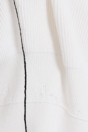 HELMUT LANG Distressed cotton, wool and cashmere-blend sweater
