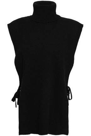 MADELEINE THOMPSON Zephyr lace-up wool and cashmere-blend turtleneck gilet