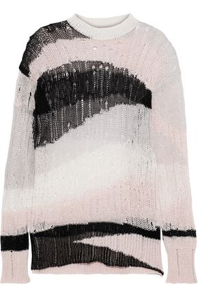 McQ Alexander McQueen Open-knit linen and cotton-blend sweater