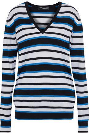 DOLCE & GABBANA Striped cashmere and silk-blend sweater