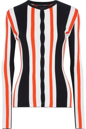 DOLCE & GABBANA Striped ribbed silk cardigan