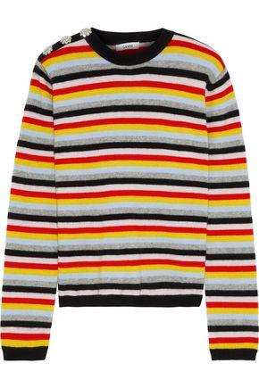 GANNI Ivory クリスタル付き ストライプ カシミヤ セーター