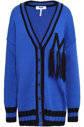 MSGM Fringed intarsia-knit cotton-blend cardigan