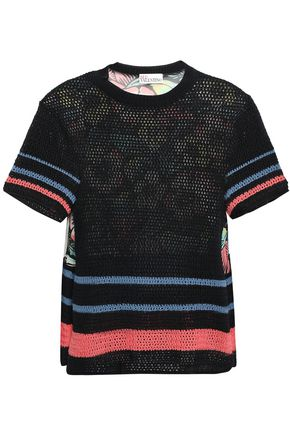 REDValentino Printed silk-paneled pointelle-knit cotton top