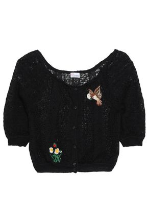 REDValentino Embroidered pointelle-knit cardigan