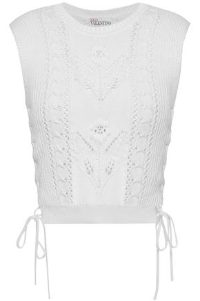 REDValentino Crochet-trimmed pointelle-knit cotton top