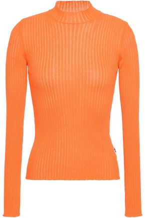 MSGM Neon ribbed-knit top